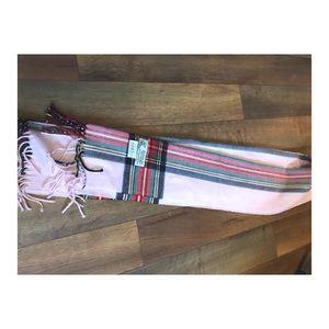 🧶 Fringed Super Soft Scarf Pink Plaid Long neck